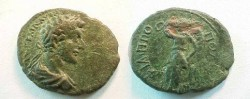Ancient Coins - Commodus AE21 of Philippopolis, Thrace.  Demeter standing left with raised left hand and holding short torch transversely.