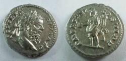 Ancient Coins - Septimius Severus Denarius.  P M TR P XVI COS III P P, Genius standing left with patera and double cornucopiae.