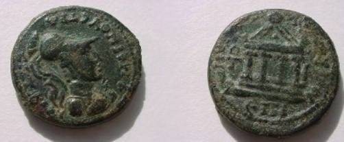 Ancient Coins - Lydia, Sardes. AE 20mm.Bust in crested helmet right / tetrastyle temple