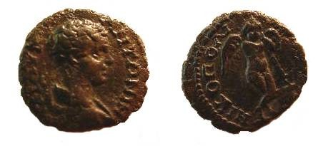 Ancient Coins - Caracalla AE17 of Nicopolis ad Istrum.  Thanatos right leaning on inverted torch.