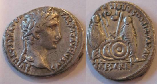 Ancient Coins - Augustus AR Denarius.Gaius & Lucius