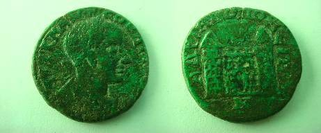 Ancient Coins - Gordian III Æ 26mm of Hadrianopolis.  City gate, flanked by two towers.