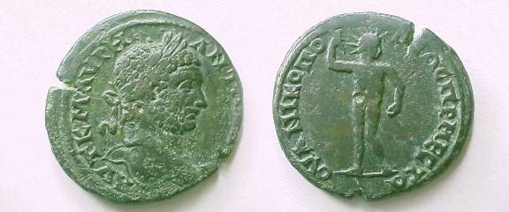 Ancient Coins - Caracalla AE32 of Nikopolis-ad-Mestrum, Thrace.  Sol, radiate, standing facing with one raised hand.