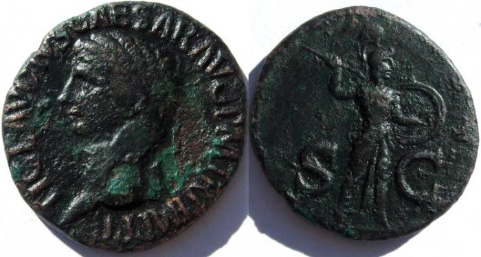 Ancient Coins - Claudius (A.D. 41-54), Copper As.Minerva advancing right brandishing spear