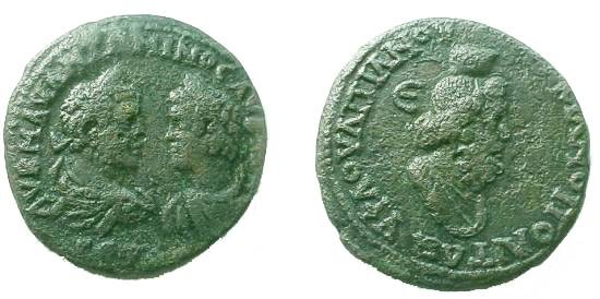 Ancient Coins - Caracalla & Geta AE28 Pentassarion of Markianopolis.  Draped bust of Serapis right, E to left.