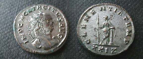 Ancient Coins - Tacitus Silvered Antoninianus.Clementia standing left leaning on column.EF.BEAUTIFUL!!
