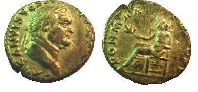 Ancient Coins - Vespasian denarius.  PON MAX TRP COS VI, Pax seated left holding branch.
