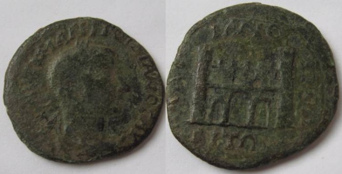 Ancient Coins - Gordian III Æ 26mm of Hadrianopolis.city gate with four pinnacles, surmounted by five arches ,with tree doors .