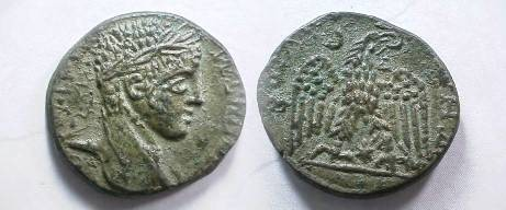 Ancient Coins - Elagabalus AE24 of an unknown city.  (Possibly Antioch?) Eagle standing front, head right with wreath in its beak.