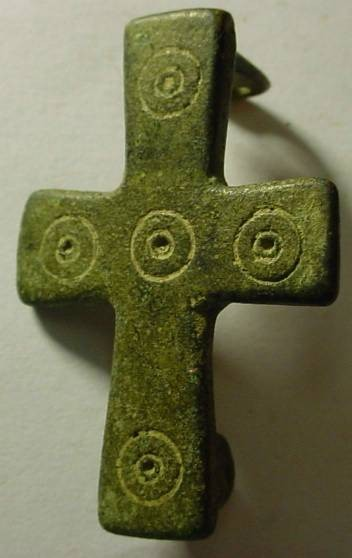 Ancient Coins - Unique Byzantine  brooch in shape of a cross with Five Wounds design. 700-1100 AD,