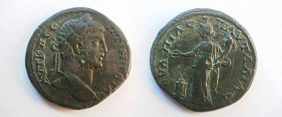 Ancient Coins - Geta AE30 of Pautalia. Kybele standing left sacrificing out of patera over altar & holding cornucopaie.