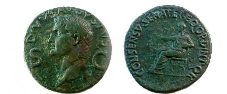Ancient Coins - Caligula & Divus Augustus Æ Dupondius.  DIVVS AVGVSTVS S-C, radiate head of Divus Augustus left.
