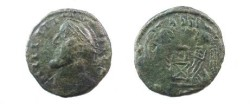 Ancient Coins - Barbarous imitiation of a LAETITIA type.  AE18.