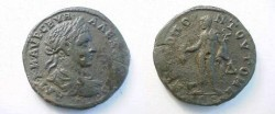 Ancient Coins - Severus Alexander AE28 4 Assaria of Tomis.  Hermes standing left with purse & caduceus, <font face=