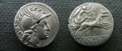 Ancient Coins - L Rutilius Flaccus Denarius,  77 BC.  Victory in biga right, L RVTILLI in ex.