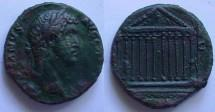 Ancient Coins - HADRIAN. 117-138 AD. Sestertius.Decastyle temple set on three-tiered base.RRR