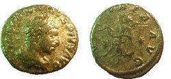 Ancient Coins - Elagabalus Denarius.  VICTORIA AVG, Victory flying left between two sheilds, carrying wreath, star in field.