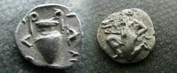 Ancient Coins - Thasos, Islands off Thrace, AR Trihemiobol.  Satyr kneeling / Amphora.