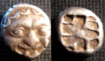 Ancient Coins - Parion, Mysia, AR Hemidrachm. Circa 480 BC. Gorgon head with protruding tongue