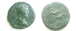Ancient Coins - Septimius Severus AE30 of Pautalia, Thrace.  Lion attacking horse running right.