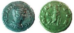 Ancient Coins - Julia Domna Denarius.  MATRI DEVM, Cybele standing left, leaning on column, holding drum & scepter, lion at foot.