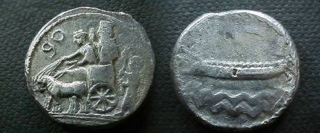 Ancient Coins - Phoenicia, Sidon.  War galley to left over waves, year 1 above.