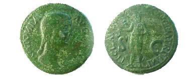 Ancient Coins - Antonia Æ Dupondius.  TI CLAVDIVS CAESAR AVG P M TR P IMP S-C, Claudius, togate, standing left, holding simpulum.