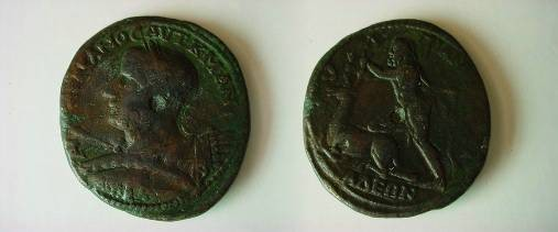 Ancient Coins - Gordian III AE39 Medallion of Anchialus, Thrace. Hercules left grasping the Hind of Cyreneia by the horns.
