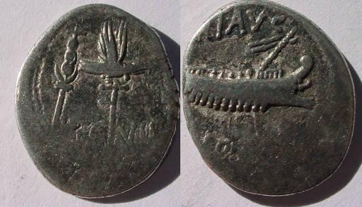 Ancient Coins - Mark Antony Legionary Denarius. 32-31 BC. Praetorian galley right / Legio VII Claudia Pia Fidelis,