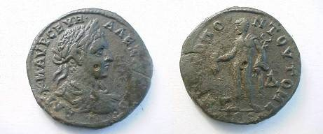 Ancient Coins - Severus Alexander AE28 4 Assaria of Tomis.  Hermes standing left with purse & caduceus,
