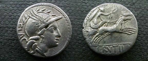 Ancient Coins - L Rutilius Flaccus Denarius,  77 BC.  Victory in biga right, L RVTILLI in ex.