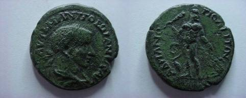 Ancient Coins - Gordian III AE28 of Hadrianopolis, Thrace.  Herakles, nude, standing facing with raised club & lion skin, Cerberus at foot to right.