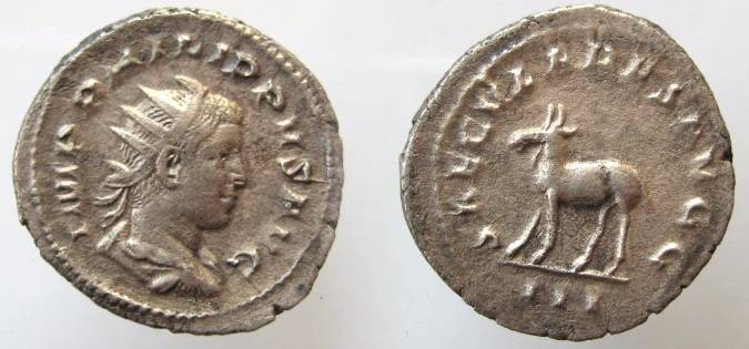 Ancient Coins - PHILIP II AR ANT. SAECULARES AVGG.  GOAT WALKING. EF
