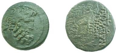 Ancient Coins - Antioch under Antony & Cleopatra AE25 Tetrachalkon. Year 9=41-40 BC. Head of Zeus /  Zeus seated left with Victory & scepter, KL (Cleopatra's monogram) below.
