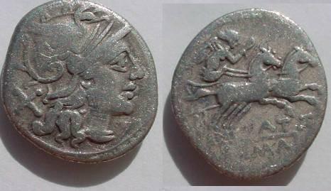 Ancient Coins - Pinarius Natta Denarius,  155 BC.  Victory in biga, NAT below, ROMA in ex.
