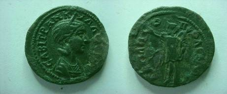 Ancient Coins - Hadrianopolis. Tranquillina. Æ 27 . A.D.  241-244. Nike stg. l., holding wreath and palm.R