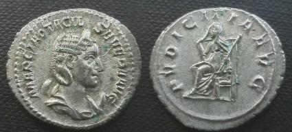 Ancient Coins - Otacilia Severa AR Antoninianus.  PVDICITIA AVG, Pudicita seated left, raising veil, holding scepter.