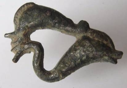 Ancient Coins - Beautiful Roman silver plated bronze brooch of Two dolphins, 100-200AD.