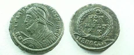 Ancient Coins - Julian II AE3.  VOT X MVLT XX in wreath, HERACLA in ex.