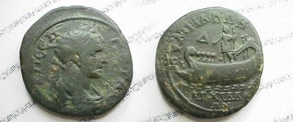 Ancient Coins - Geta AE30 Trias of Anchialus, Thrace.  Geta standing, holding spear, on galley with four oarsmen rowing left,