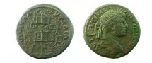 Ancient Coins - Caracalla AE29 of Pautalia, Thrace.Elaborate view of the Agora of Pautalia with six temples , trees all around, Three Graces  and a reclining river god.