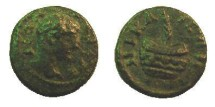 Ancient Coins -  Bithynia,Nicaea. Caracalla.  Æ 14. A.D. 198-217.  Palm-branch within urn. Interesting game coin!!