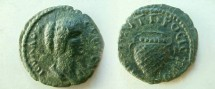 Ancient Coins - Julia Domna AE 18 of Nikopolis ad Istrum.  Basket of fruits.
