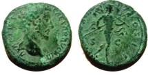 Ancient Coins - Marcus Aurelius, as Caesar, AE As.  TR POT XIIII COS II S-C, Mars advancing right carrying spear and trophy.