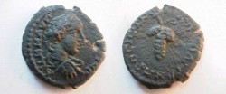 Ancient Coins - Elagabalus AE18 of Nikopolis ad Istrum. Bunch of grapes.