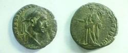 Ancient Coins - Macrinus AE30 of Nikoplis ad Istrum.  Concordia standing left holding patera and cornucopiae.
