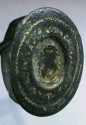 Ancient Coins - Roman  bronze ring with design of a sheild and ntricate gold inlay work.  Size 7.