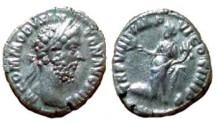 Ancient Coins - Commodus Denarius.  TR P VIIII IMP VI COS IIII P P, Commodus as Pax standing left, togate, holding branch & cornucopia, hexagonal shield at foot.