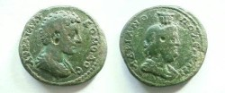Ancient Coins - Commodus AE27 of Hadrianopolis, Thrace.  Draped bust of Serapis right.
