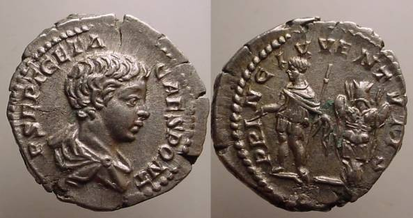 Ancient Coins - Geta, as Caesar, Denarius. 200-202 AD.Geta, in military dress, standing left with baton & scepter, trophy behind.